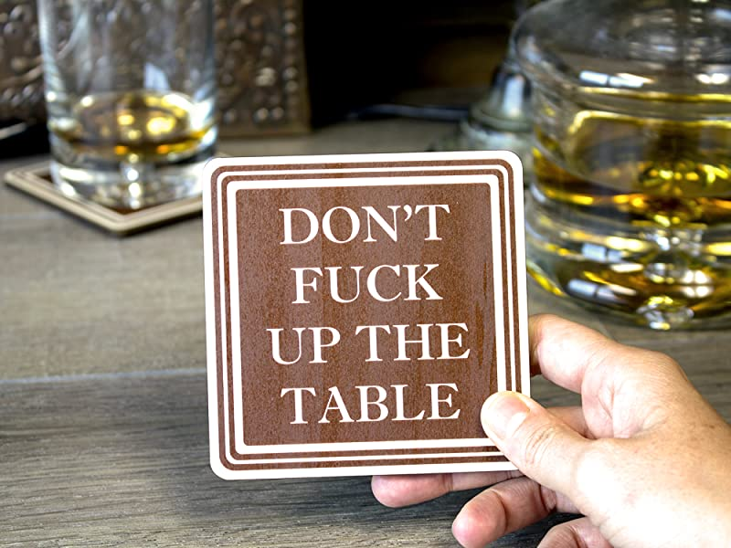 Amazon Com Don T Fuck Up The Table Wood Drink Coasters
