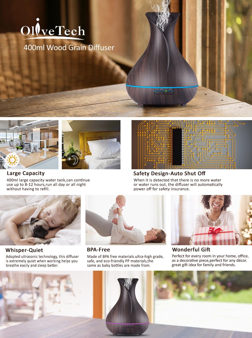 Amazon.com: Aroma Essential Oil Diffuser,OliveTech 400ml ...