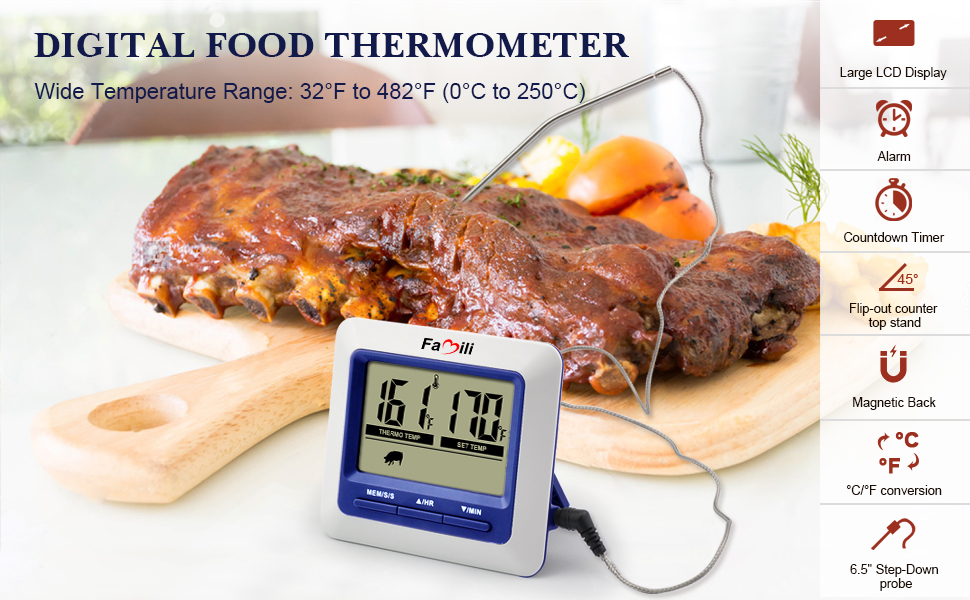 Digitales Grill Thermometer Backofen Thermometer Bratenthermometer 0°C 250°C