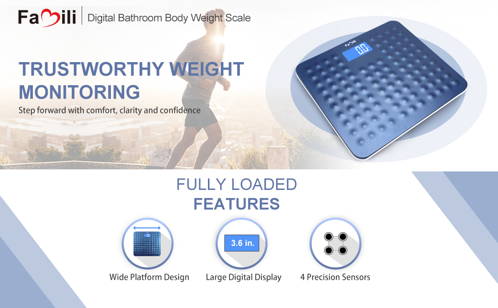 Amazoncom Famili B Digital Body Weight Bathroom Scale With - Large display digital bathroom scales for bathroom decor ideas