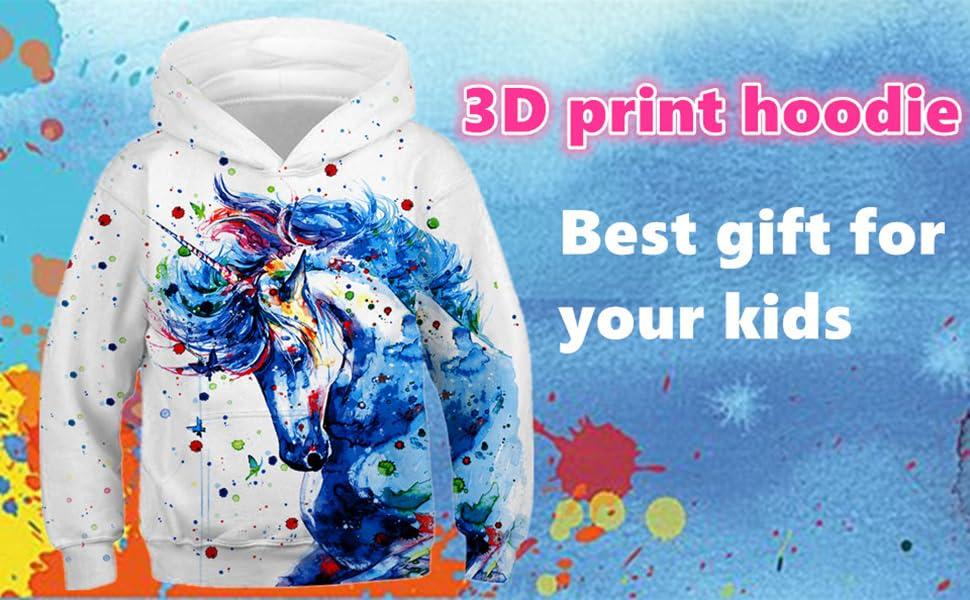 Girls Personalised  Sparkle Printed Unicorn Hoodie  3-13 with F/&B Print option