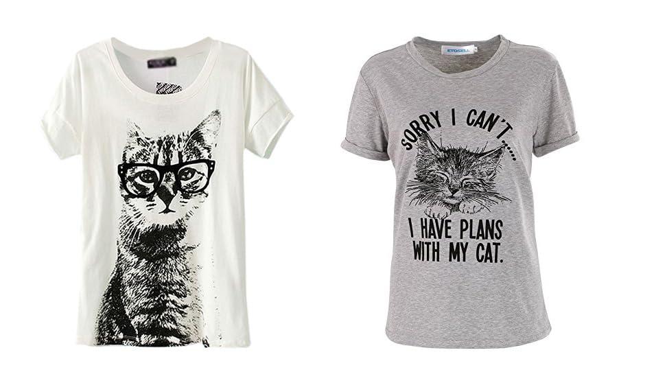 05a66394 Amazon.com: ETOSELL Cat Shirts for Women Retro CrewNeck Short Sleeve ...