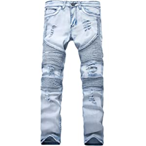 NITAGUT Mens Ripped Slim Straight fit Biker Jeans with Zipper Deco