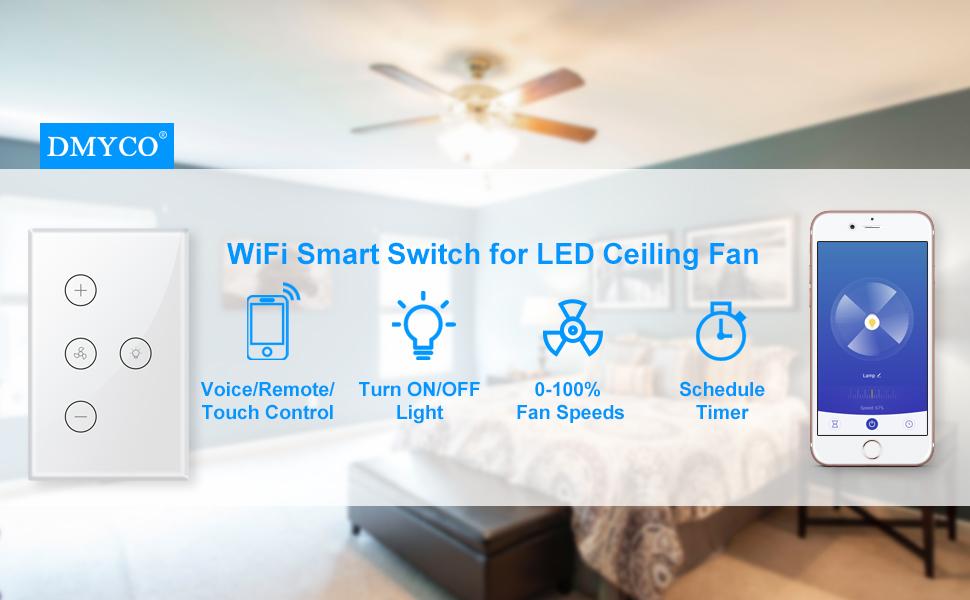 Smart Wifi Fan Light Switch In Wall Ceiling Fan Lamp