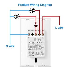 Smart WiFi Fan Light Switch, In-Wall Ceiling Fan Lamp Switch Compatible on