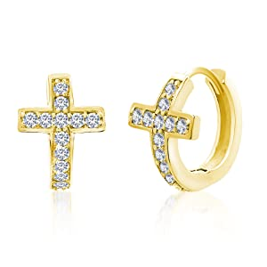 Cross Religious religion huggie hoop earrings jewelry gold sterling silver gift holiday present cute
