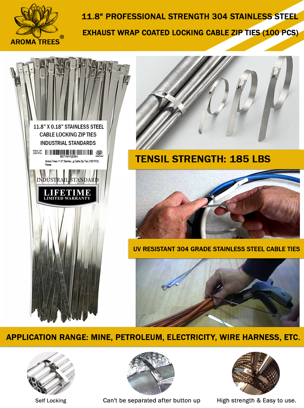 Aroma Trees 100 Pcs Metal Zip Ties 118 304 Stainless Wiring Harness Wrap Professional Strength Steel Exhaust Coated Locking Cable