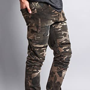distressed denim jeans camo army green pattern cool streetwear fashion