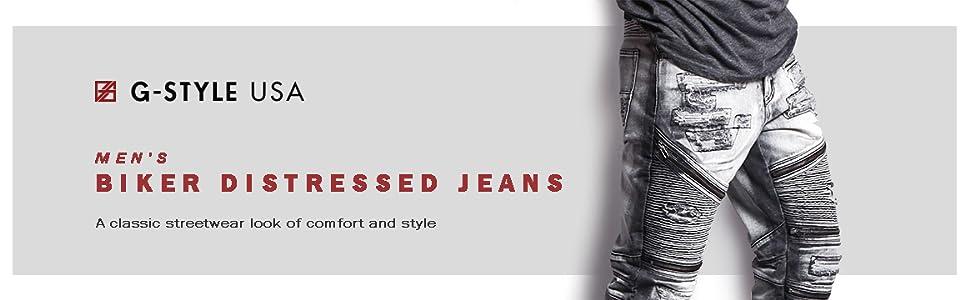 distressed acid wash jeans denim zippers cool comfortable stylish streetwear fashion mens