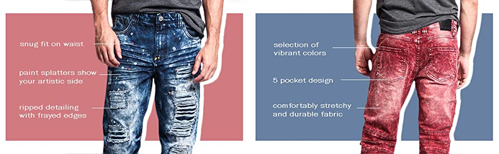 blue red acid wash distressed jeans streetwear cool comfortable