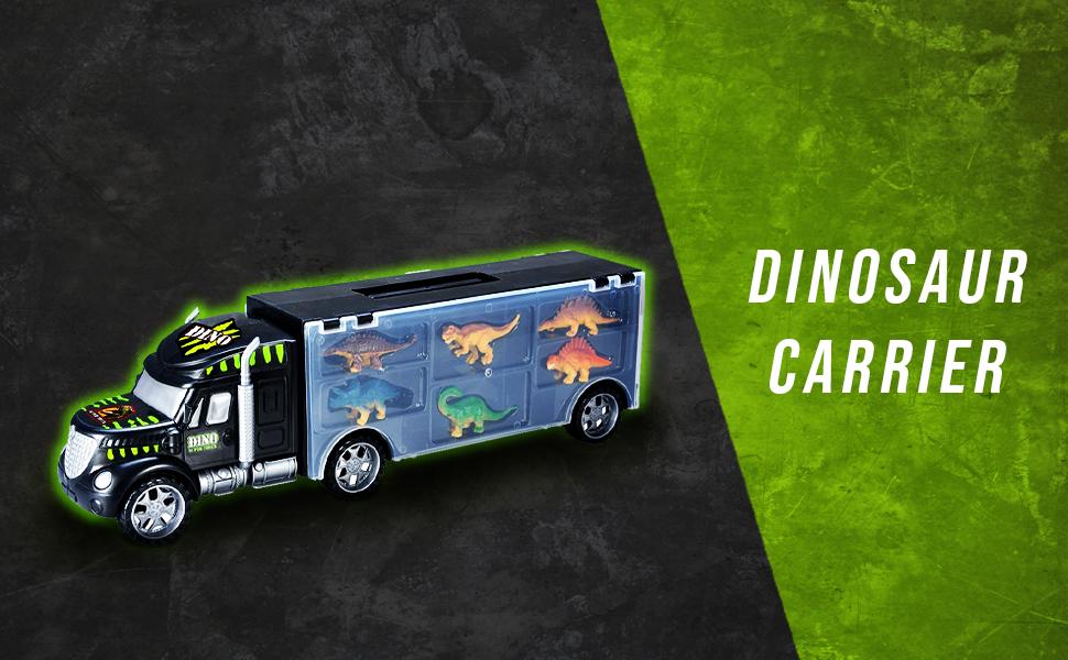 truck carrier dinosaurs dinotruck header toyvelt amazon bpa free carrier truck