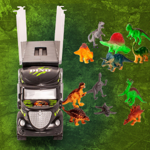 dinosaurs figures open door carrier dino truck kids