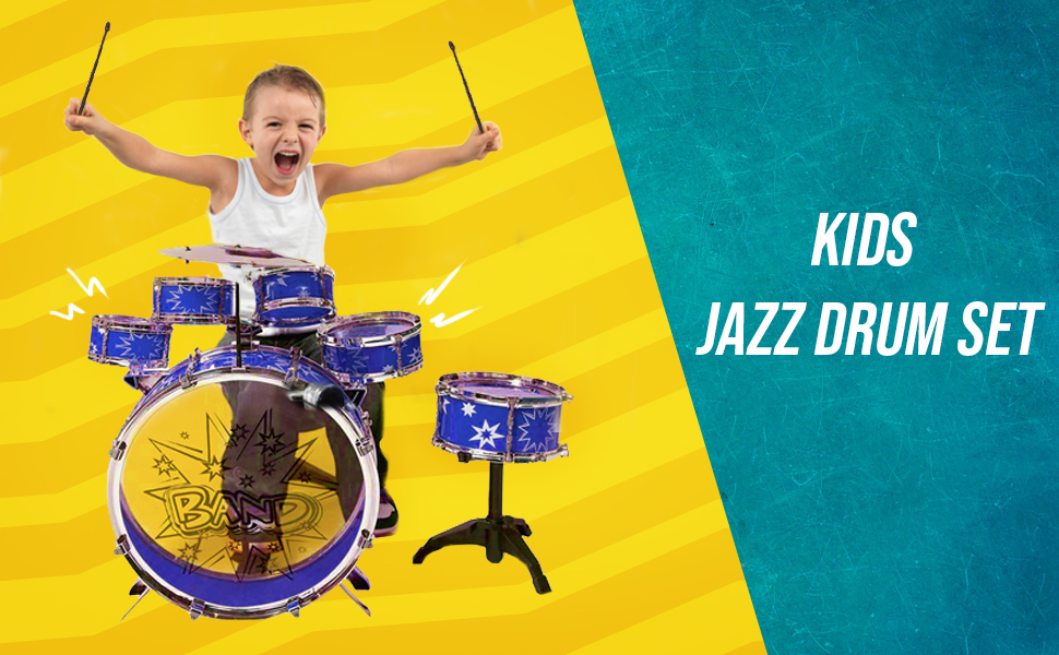 Kick Pedal Boys /& Girls ToyVelt PS75A Blue-Toyvelt Cymbal Chair 12 Piece Kids Jazz Drum Set 6 Drums Little Rockstar Kit to Stimulating Children/'s Creativity Stool 2 Drumsticks - Ideal Gift Toy for Kids Teens