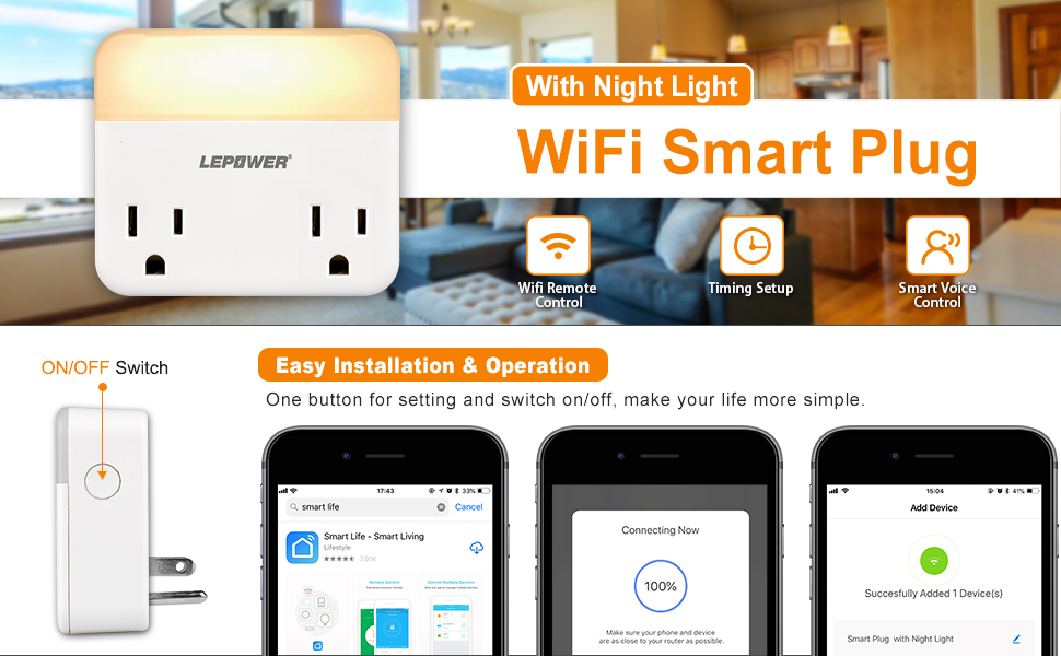 LEPOWER WiFi Dual Smart Outlet, Adjustable Warm Light LED Night ...