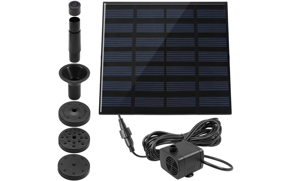 Pond Free Standing Floating 1.4W Solar Powered Fountain Pump for Bird Bath Garden Fish Tank Trooer Solar Fountain with 4 Different Nozzle Outdoor