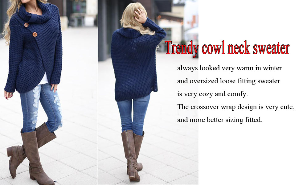be1f1fc1b Inorin Womens Sweaters Casual Cowl Neck Chunky Cable Knit Wrap ...