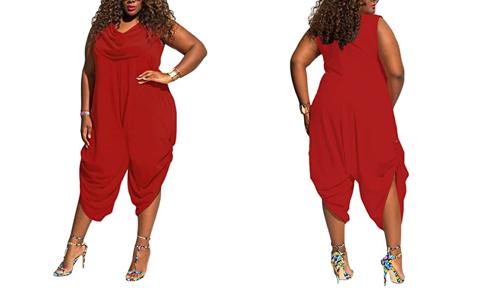54eefd403239 Amazon.com  Inorin Womens Plus Size Summer Wide Leg Harem Jumpsuits ...