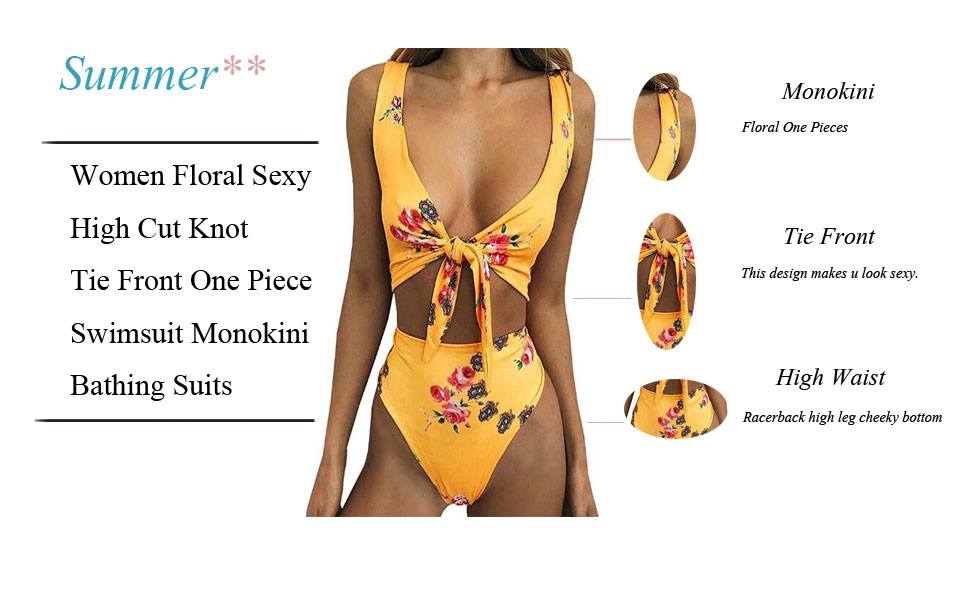 515d4854f6f This is a one piece swimsuit, front cut out. Trendy floral print, stylish  tie front design, padded bra, racerback high leg cheeky bottom.