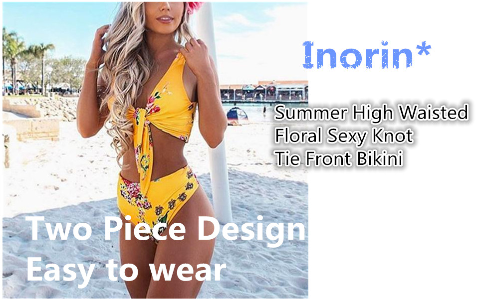 0754e2d8609 Inorin Womens High Waisted Floral Sexy Knot Tie Front Bikini Two Piece  Swimsuit