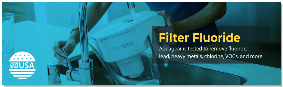 Aquagear tested to NSF Standards 42 and 53 to filter fluoride, lead, chlorine, chloramines.