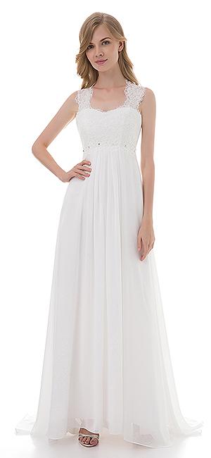 Amazon.com: Women\'s Sleeveless Lace Chiffon Evening Wedding Dresses ...