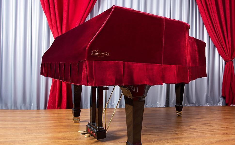 Klassisches Weinrot GCWYC3 186cm|6 ft 1 inch Clairevoire Grandeur: Klassische gro/ß e Premium Samt Klavier Abdeckung f/ü r Yamaha C3 // C3X // DC3 // G3 // CN186PE