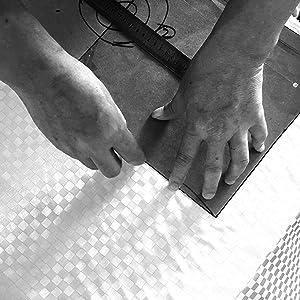 Marking a pre-cut piano cover