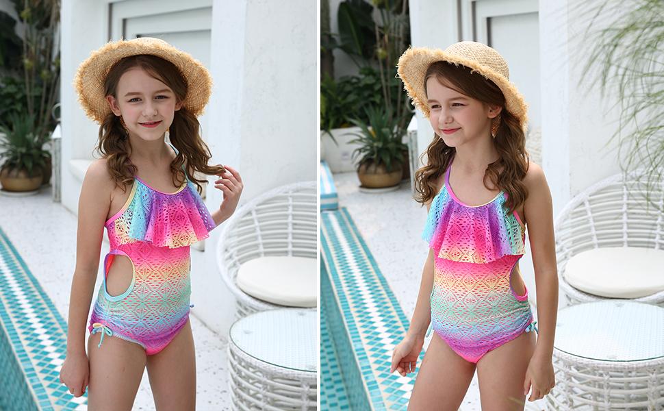 Kids Girls Swimwear One Piece Swimsuit Printed Letter Lacey Ruffles Bathing Suit