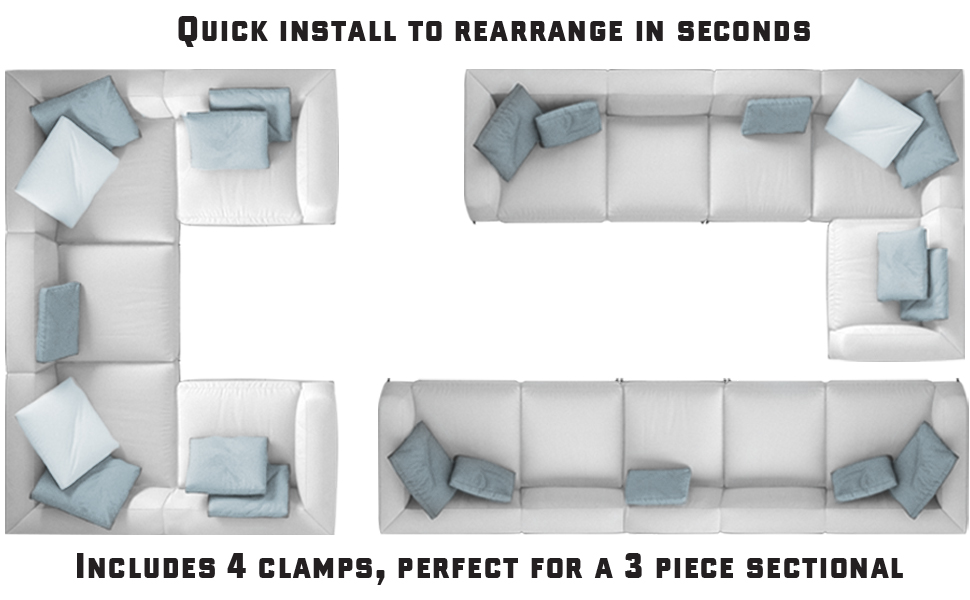 Terrific Couch Clamp Sectional Connectors For Sliding Sofas Prevent Floor Scratches And Big Gaps In Your Couch With No Tools Or Invasive Install 4 Pack Uwap Interior Chair Design Uwaporg
