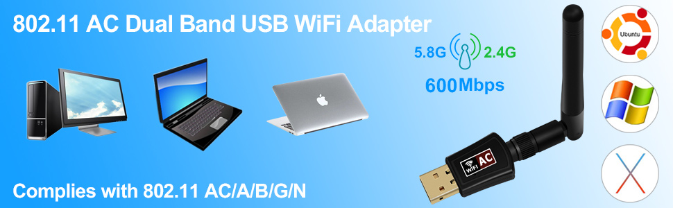 Amazon.com: Adaptador WiFi USB inalámbrico, arestech 600 ...