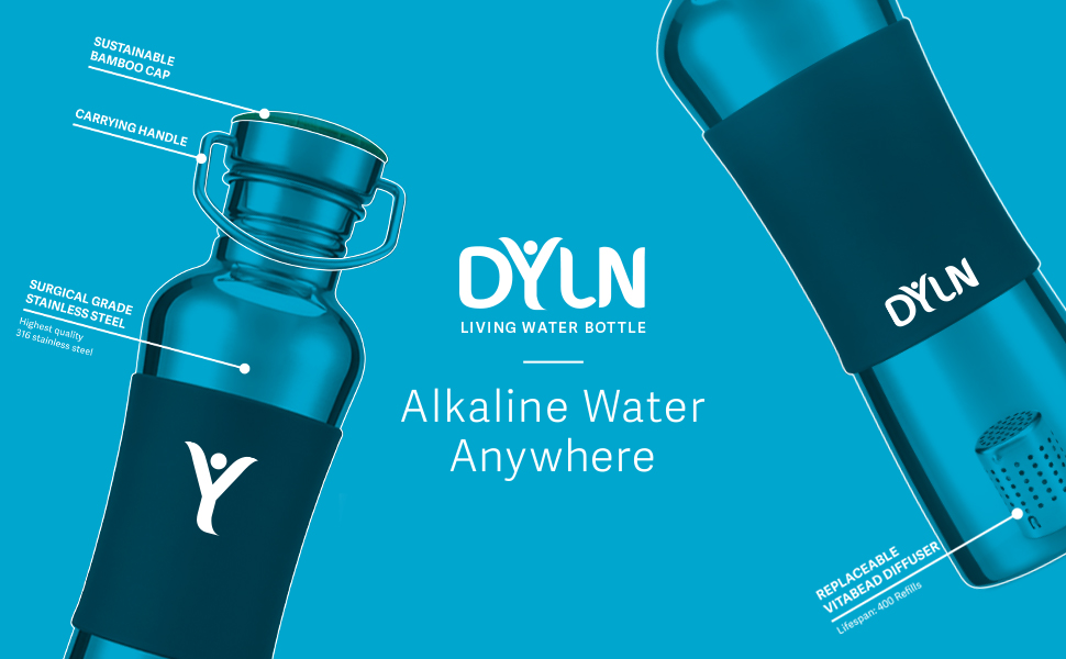 35dbb6fe9c Amazon.com: DYLN Living Water Bottle - Alkaline Antioxidant water ...