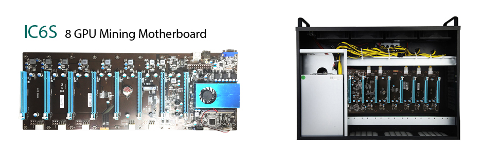 GLOTRENDS Mining Motherboard with CPU for 8 GPU Cryptocurrency Mining BTC  ETH Rig Ethereum, 8 x PCIE on Board (IC6S)