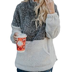 Fleece Pullover Top for women
