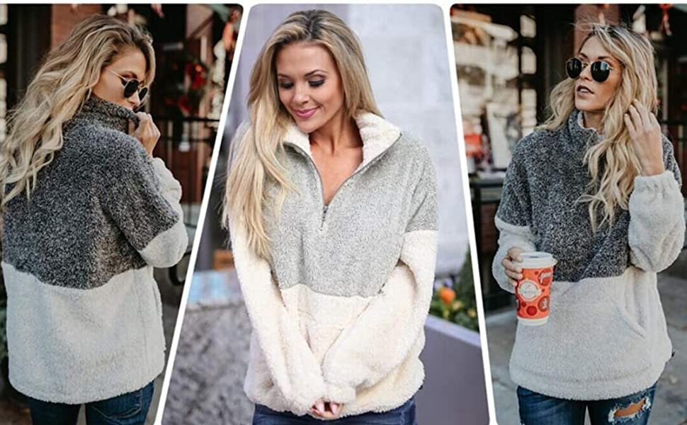 Long Sleeve Contrast Color Zipper Sherpa Pile Pullover Tops Fleece with Pocket