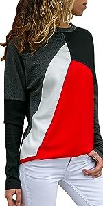 Crewneck Sweatshirt Color Block Pullover
