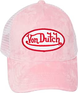 ecfbb5a3f636c Von Dutch is Alive and well! Bringing you a blast from the past with our  velvet trucker hats. Hat pictured above is featured in pink and blue.