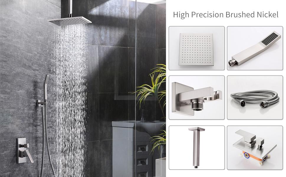 SR SUN RISE Ceiling Mount Brushed Nickel Shower System Bathroom Luxury Rain  Mixer Shower Combo Set Ceiling Install Rainfall Shower Head System