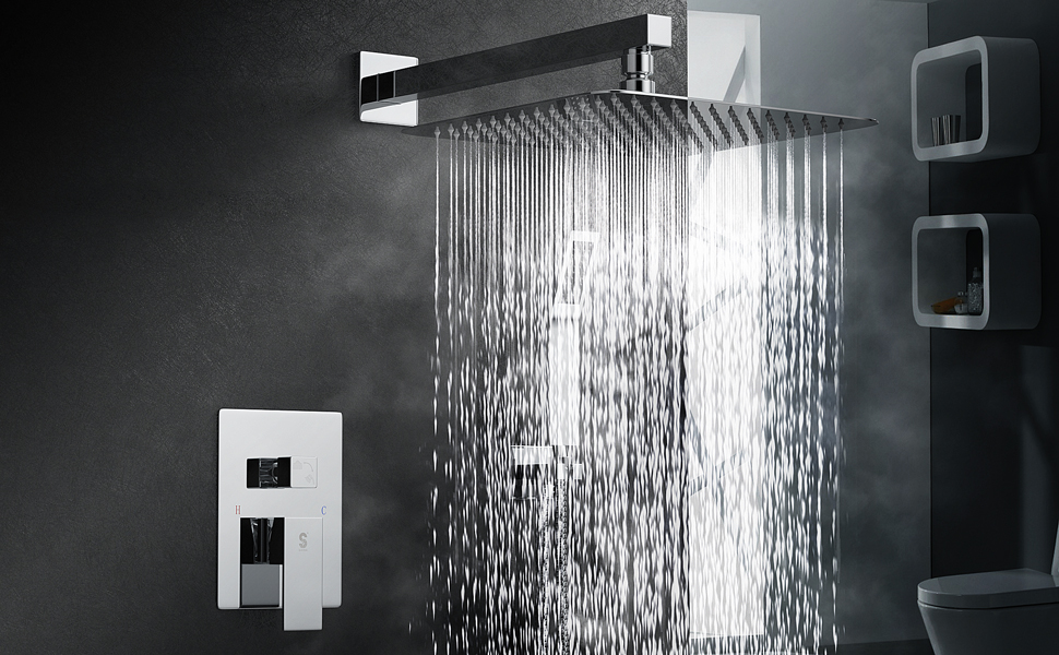 SR SUN RISE SRSH-F5043 Bathroom Luxury Rain Mixer Shower Combo Set Wall Mounted Rainfall Shower Head System Polished Chrome Contain Shower Faucet Rough-in Valve Body and Trim