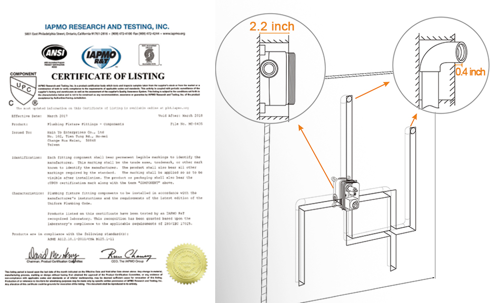 The Shower Cartridge Of This Shower Valve Faucet Is Certificated By Upc Ansi Iampo R T Concealed Installation