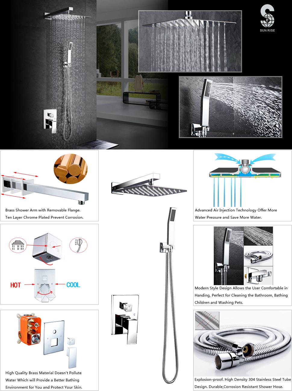 Sr Sun Rise Srsh F5043 Bathroom Luxury Rain Mixer Shower