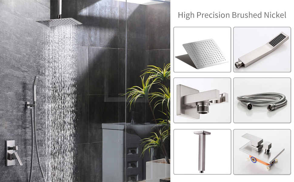 SR SUN RISE Ceiling Mount Brushed Nickel Shower System Bathroom Luxury Rain  Mixer Shower Combo Set Ceiling Install Rainfall Shower Head System