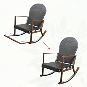 New Version Rocking Chair with Removable Foot Rest  sc 1 st  Amazon.com & Amazon.com : Outdoor Wicker Rocking Chair with Foot Rest Outdoor ...