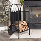 Wrought Iron Firewood Log Rack Cart Mover