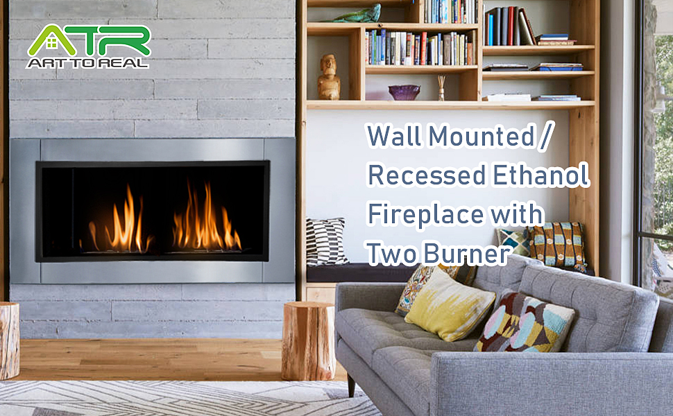 Wall mount ventless bio ethanol fireplace