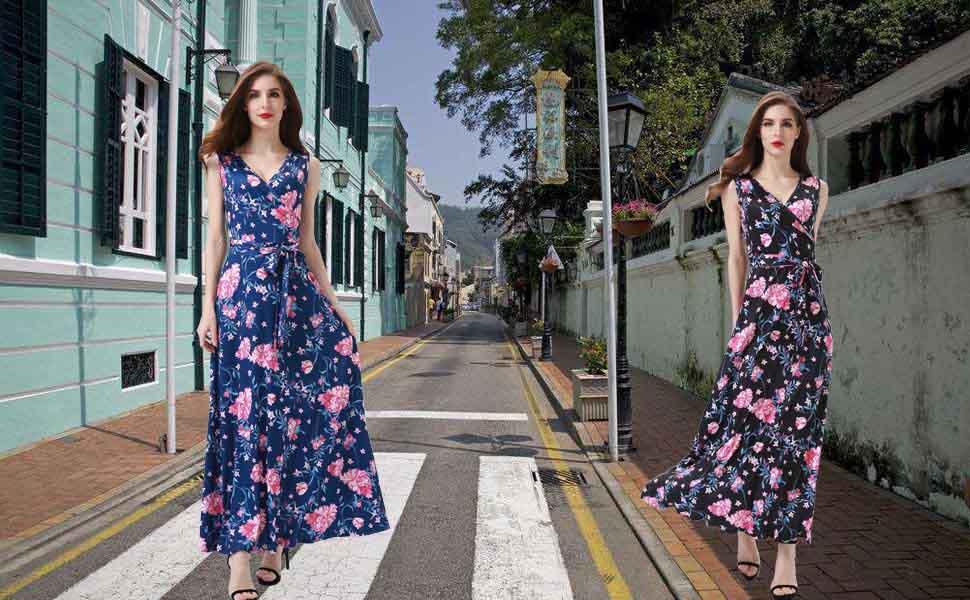 478261d5cc Melynnco Women's Floral Sleeveless Faux Wrap V Neck Long Summer Maxi ...