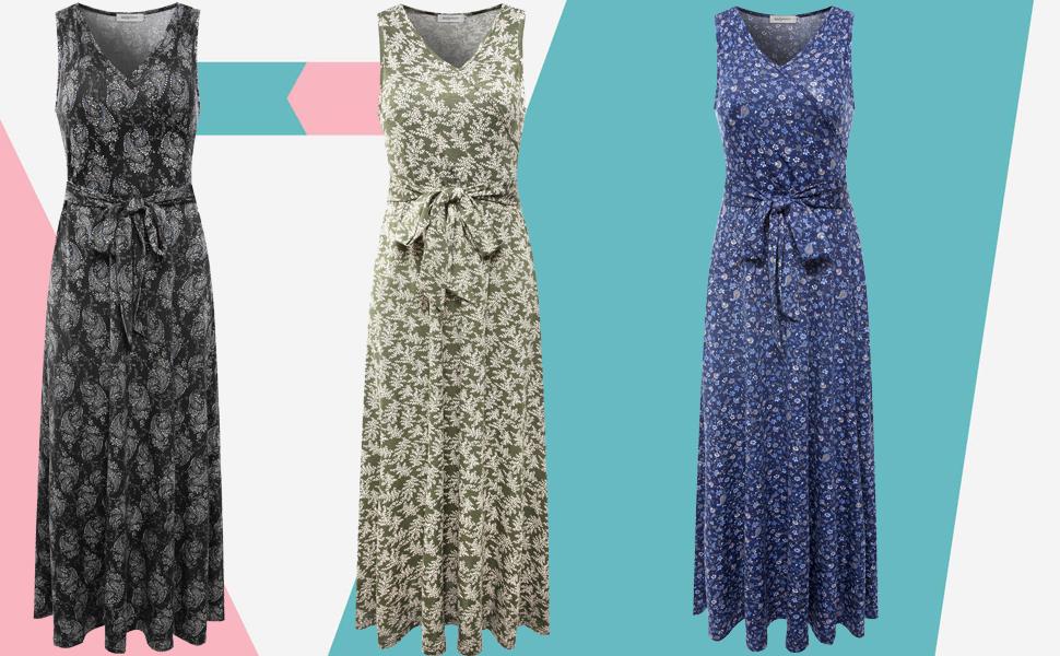 3def6bacf1 Melynnco Women's Cotton Sleeveless V Neck Vintage Floral Faux Wrap Maxi  Dress