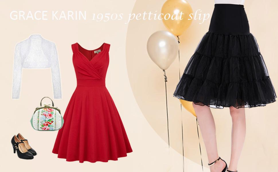 a92bec239d5 GRACE KARIN Women s 50s Vintage Petticoat Crinoline Tutu Underskirts ...