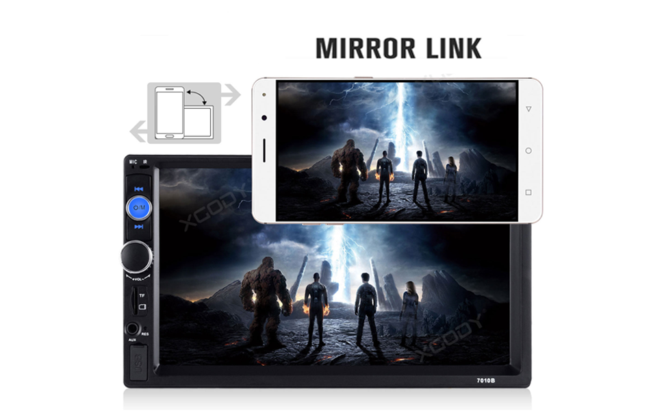 Double Din Car Stereo, Mirror Link 7Inch Touch Screen in Dash Car Radio Receiver Audio