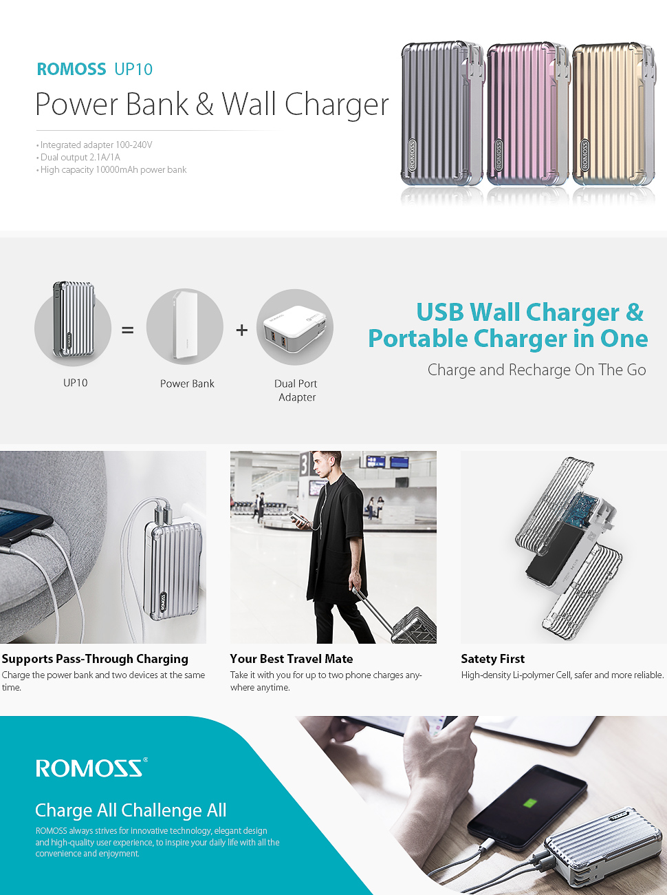 10000mah 2 In 1 Power Bank And Wall Charger Romoss Up10 Mobile Cellphone Battery Circuit Diagram The High Speed Portable From A Globally Technology Oriented Reliable Provider Of