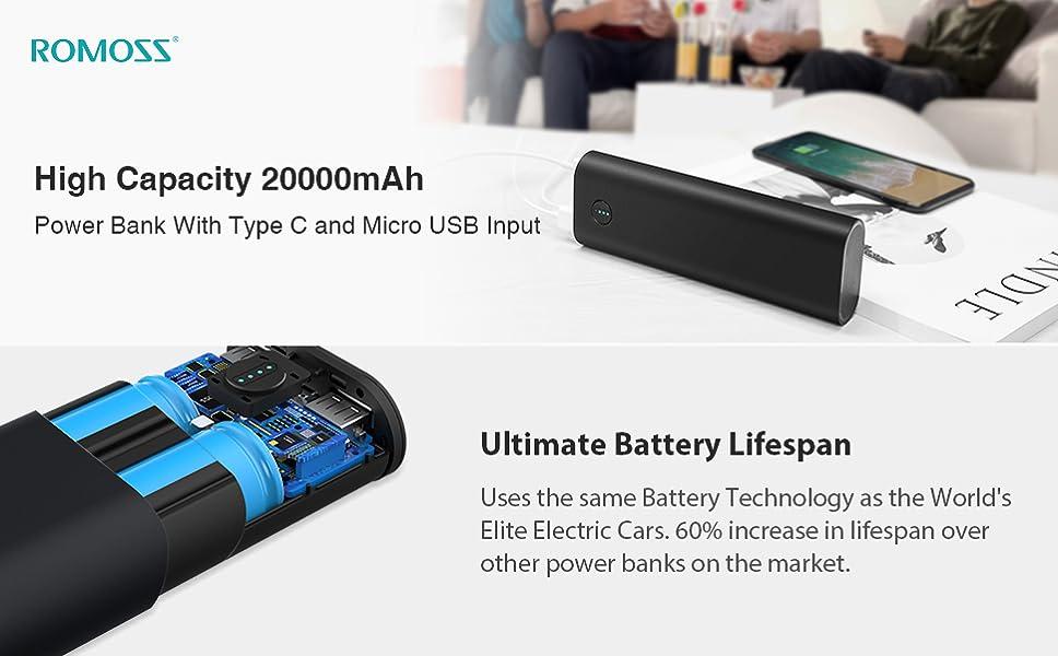 a69fb7105 Amazon.com  ROMOSS 20000mAh Portable Charger
